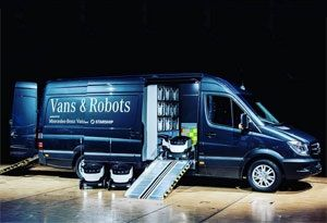 image: Mercedes Benz drones robots road haulage freight home delivery systems airships Starship Technologies transport