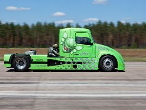 image: Volvo US Mean Green freight haulers truck hybrid Ferrari