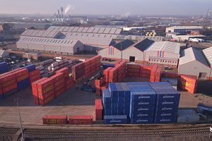image: UK inland container freight rail logistics terminal Middlesborough