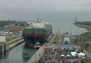 image: Panama Canal Cosco China TEU container ship vessel