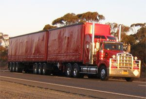 image: Australia B-Double truck trucking road cargo freight
