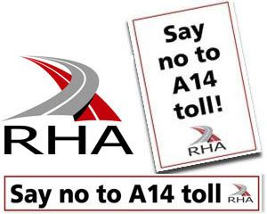 image: UK A14 sticker e petition road haulage freight truck road tolls bridge Dartford crossing