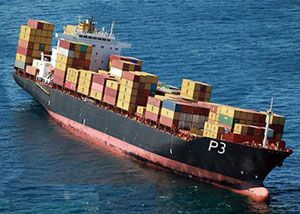 image: China Europe US good ship P3 container shipping line freight box carrier MSC Maersk CMA CGM