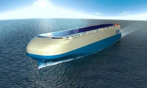 image: Mitsui O.S.K. Lines, ships, vessels, MOL, ISHIN-I, ishin one, Innovations in Sustainability backed by Historically proven, INtegrated technologies, car-carrier, green technology, co2 emissions, contra-rotating propeller,