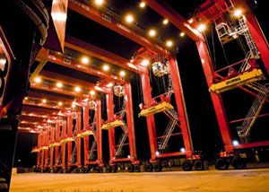 image: Konecranes US RTG TEU container cranes handling equipment Houston port authority
