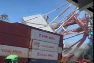 image: Taiwan, OOCL Durban, M/V Constancy, Yang Ming, Sun Lanes, shipping, accident, gantry, cranes, collapse, container,