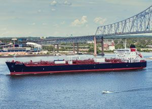 image: US Jones Act Crowley product tanker container vessel general cargo Philly shipyard LNG ready maritime