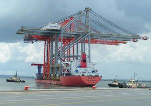 image: London Gateway DP World UK deep water container port logistics park cranes China
