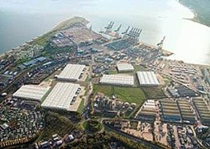 image: UK road haulage deep water container port cargo logistics park Felixstowe rail DP World London Gateway HPH