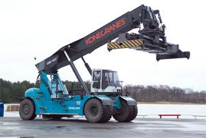 image: Konecranes reach stackers fork lift port shipping terminal freight