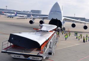 image: Volga-Dnepr Russia air freight forwarding logistics heavy lift project shipment airline belly hold