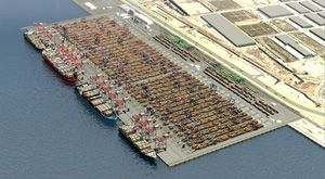 image: Spain TEU freight container handling terminal port quay Barcelona