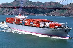 image: Asia Europe US container shipping freight TEU CMA CGM box