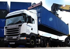 image: UK Pentalver container logistics Tilbury Scania road haulage fleet trucks