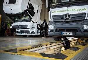 image: UK road haulage palletised freight network logistics trucks