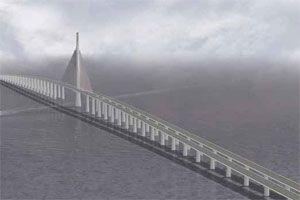 image: Arabian UAE causeway road rail freight Qatar Bahrain island