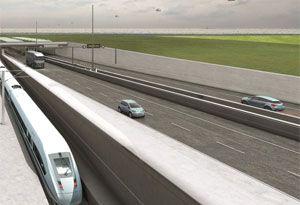image: Germany Denmark road freight rail cargo EC Fehmarn Belt link