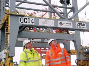 image: UK deepwater container shipping port London Gateway crane Thames Brandon Lewis