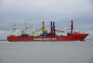 image: Hansa Germany heavy lift project freight Terex Gottwald mobile harbour cranes