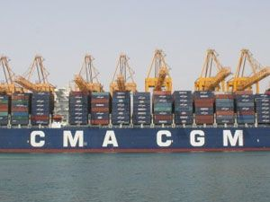 image: CMA CGM dry port seaport freight cargo custom container shipping line