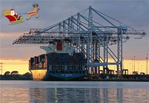 image: UK container shipping terminal freight cargo Christmas DP World Southampton