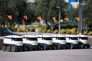 image: US robotics autonomous parcel delivery services Europe Isaac Asimov