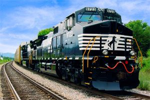 image: US Rail Freight Norfolk Southern Corporation Burlington Northern Santa Fe Corp BNSF container shipping lines railcars hauliers George Soros