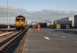 image: UK rail freight inland hub train iPort