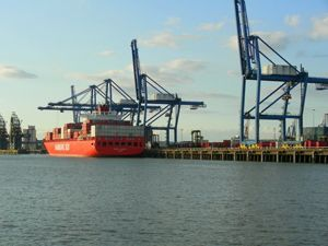 image: London Thames Tilbury container terminal box trade freight shipping port