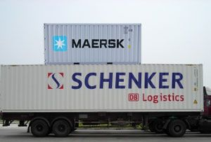 image: DB Schenker Maersk container shipping line freight forwarding and logistics emissions CO2 green credentials