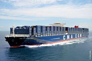 image: Taiwan box line shipping container freight Hanjin Evergreen CMA CGM Marco Polo green environment