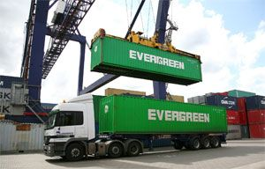 image: Evergreen, PD, ports, feeder, traffic, box, container, TEU, Teesport, import, terminal, transit