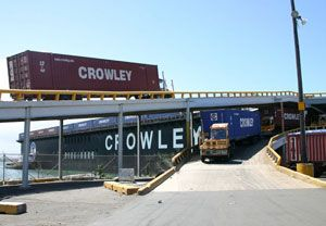 image: US Crowley supply chain logistics ocean freight Central America Caribbean Puerto Rico reefer container shipping