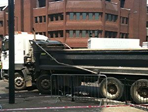 image: Crossrail cyclist safety road haulage tipper truck police HGV drivers West Poultry Lane