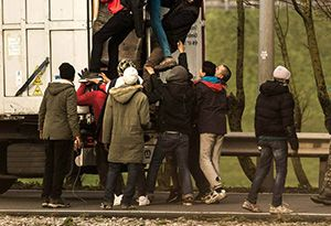 image: UK illegal migrants truck driver road haulage lorry Calais Reims Jungle RHA