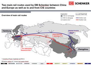 image: China Russia Germany rail freight intermodal cargo container train DB Schenker Deutsche Bahn Hamburg