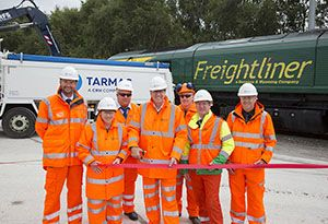 image: Tarmac Freightliner rail freight services road haulage Liverpool City Centre supply chain Mersey Gateway