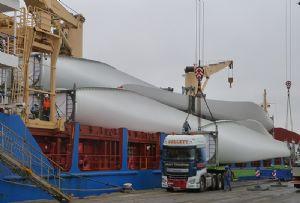 image: UK US freight logistics materials handling fork lift truck Peel Ports turbines Clocaenog Forest Wind Farm