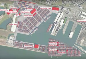 image: UK Liverpool2 road haulage rail intermodal multimodal container freight terminal Maritime Peel Port GB Railfreight