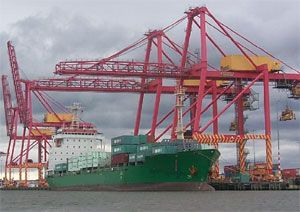 image: Australia shipping container terminal truckers port freight cargo