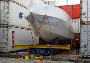 image: UK project freight forwarding container shipping flat rack yacht transport