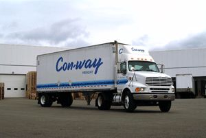image: Con-way less than truck load LTL logistics freight trucking trailer