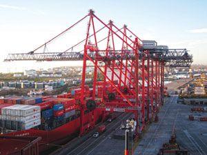 image: Liebherr container shipping cranes freight Killarney Ireland Argentina Ukraine