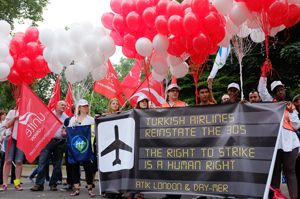 image: DHL Turkey UK freight logistics air carrier sacked workers ITF Unite