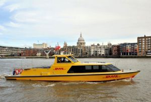 image: UK, London, DHL, Express, water, borne, freight, Thames, Clippers, logistics,