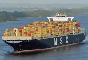 image: Durban port freight vessel container shipping dock MSC