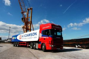 image: A V Dawson, freight, haulage, Middlesborough, Riverside Park, Gary Dawson, D1 Oils,