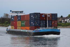 image: Sweden, Stockholm Norvik,Port of V�ster�s, barge, shuttle, inland, waterway, TEU, service,