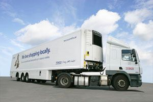 image: UK road haulage freight Tesco Gray & Adams green longer trailers DfT