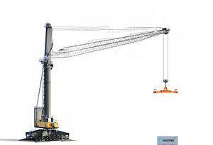 image: Austria Liebherr mobile harbour crane container bulk freight box rows stacks tonnes